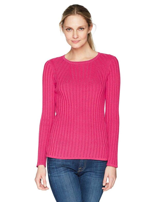 Foxcroft Women's Mindy Lurex Ribbed Sweater (Pink, L)
