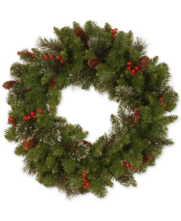 National Tree 24 Inch Crestwood Spruce Wreath with Cones, Glitter, Red Berries and Silver Bristle