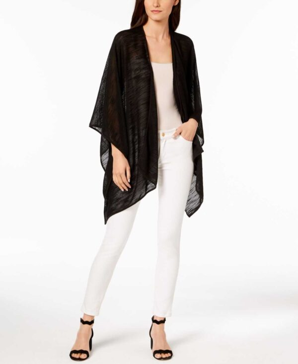 Calvin Klein Textured-Weave Cover-Up & Shawl (Black)