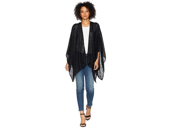 Calvin Klein Textured-Weave Cover-Up & Shawl (Black)2