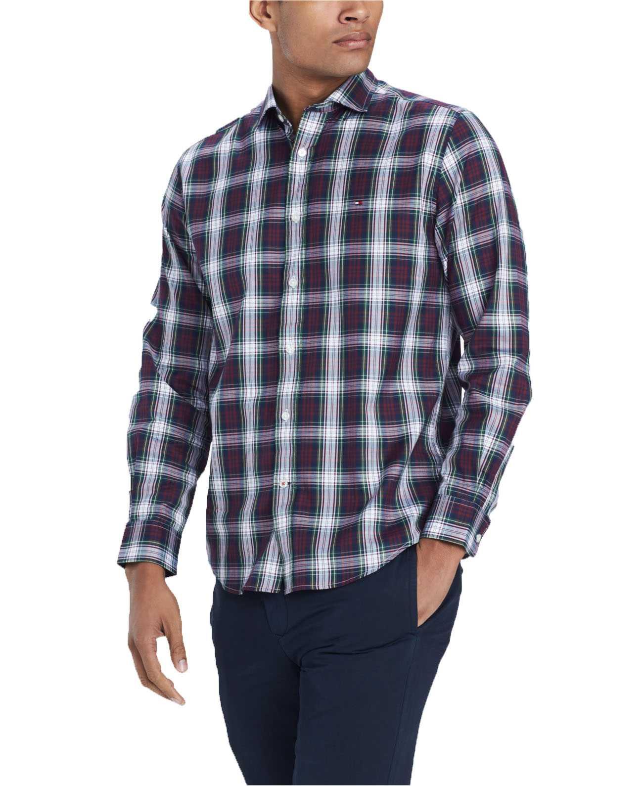 Tommy Hilfiger Mullins Classic Fit Plaid Shirt Multicolor Mens XL New