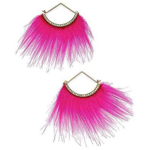 Betsey-Johnson-xox-Trolls-Faux-Fur-Fan-Earrings-Pink-Gold-Tone-B06XDV4R4K